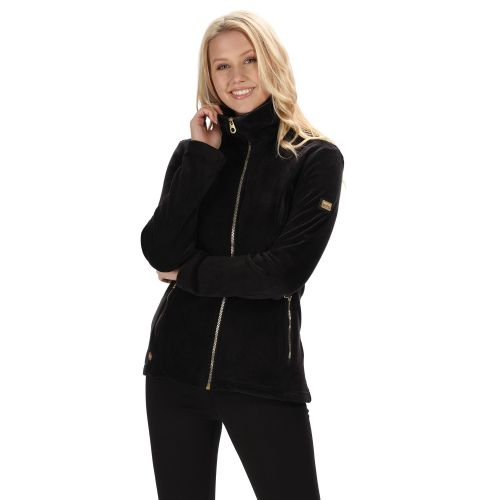 Women's Halona Velour Full Zip Fleece Black